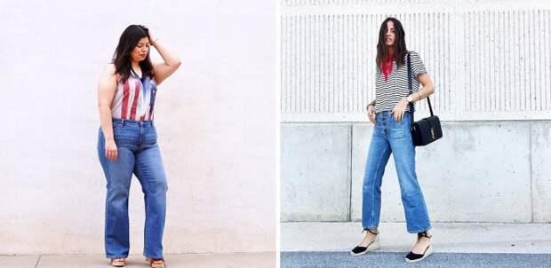 Девушкам с любыми размерами одежды подойдут расклешенные джинсы.