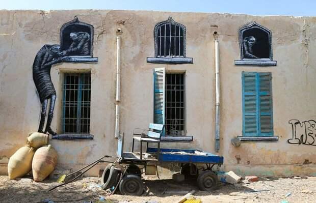 150 уличных художников из 30 стран, превратили старую деревушку Эр-Рияд в Тунисе в настоящую галерею под открытым небом (7)