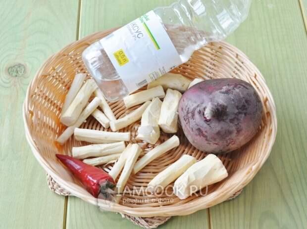 Ингредиенты для заварного хрена с чили и свекольным соком