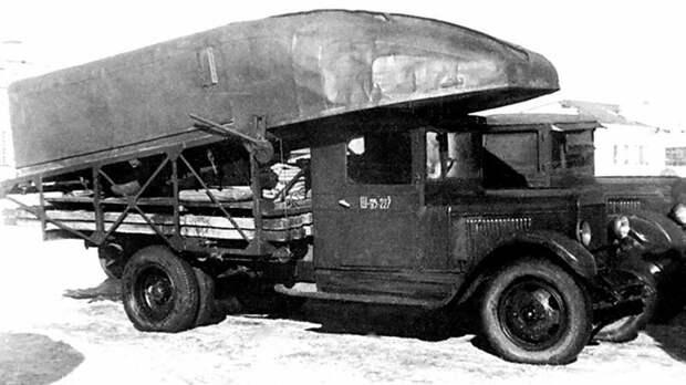 Базовый грузовик парка Н2П-32 на доработанном шасси ЗИС-5 (из архива Н. Маркова) авто, автоистория, военная техника, история, переправа, понтон, понтонно-мостовая переправа