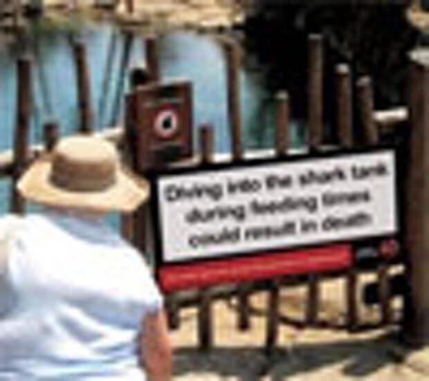 Минздрав предупреждает: нырять в бассейн с акулами опасно!