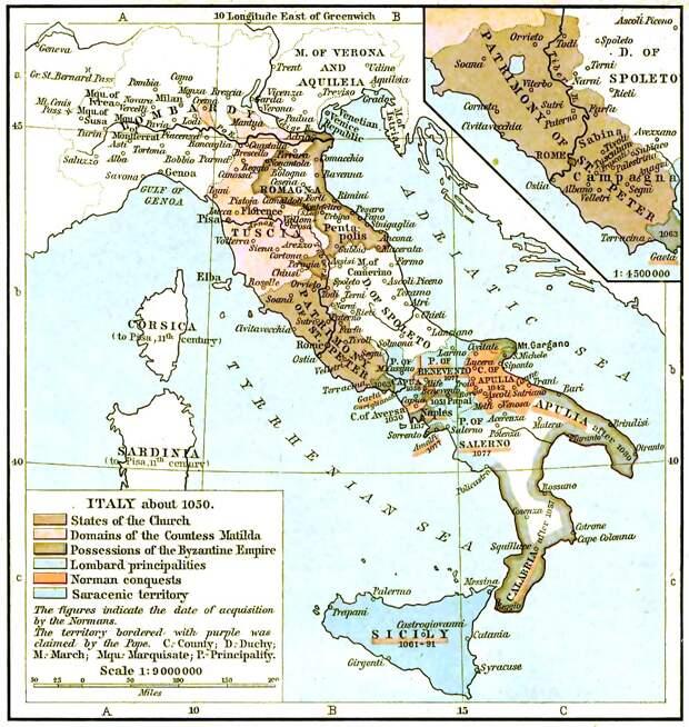 Карта государств на территории Италии в 1050 году.