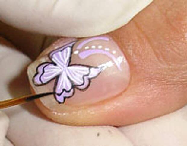 Как нарисовать бабочку на ногтях (12) (196x153, 25Kb)