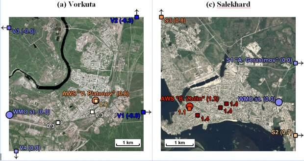 Индекс UTCI в Салехарде и Воркуте