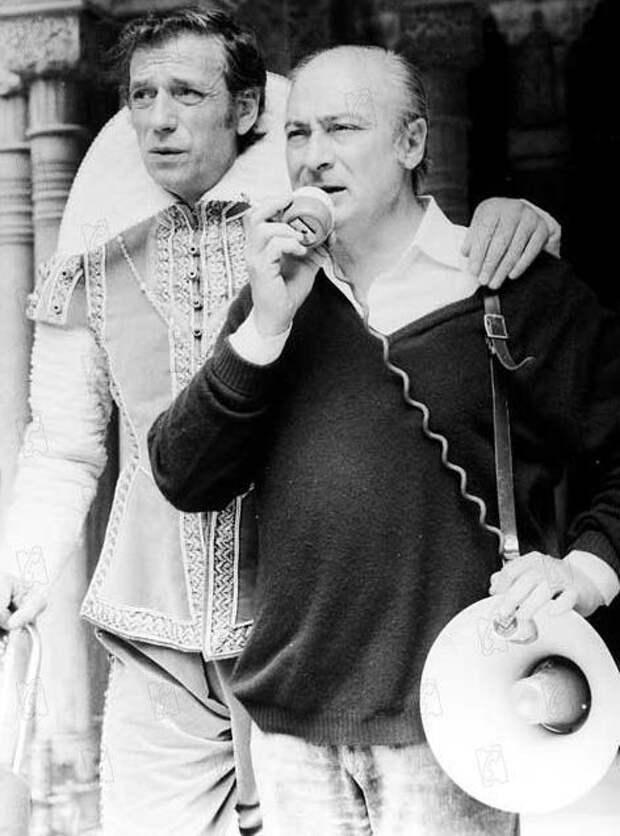 """Жерар Ури с Ивом Монтаном на съемках фильма """"Мания величия"""",1971"""