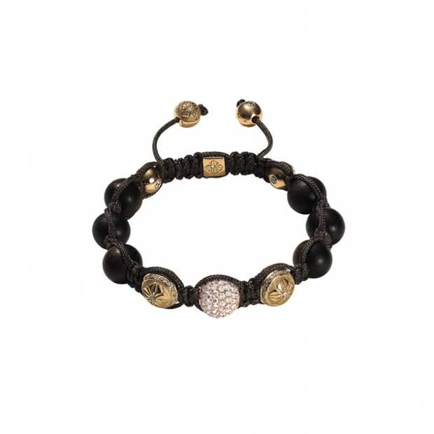 Браслет, розовое золото, бриллианты, эбеновое дерево, Shamballa