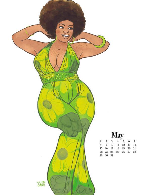 Откровенный календарь в стиле пин-ап с девушками размера плюс
