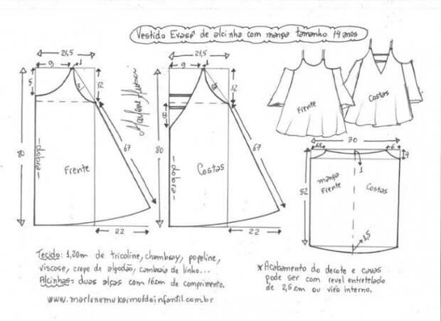 выкройка нарядного детского платья на все размеры