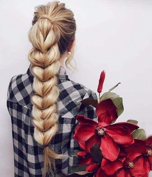Фальшивая коса для длинных волос (Diy)