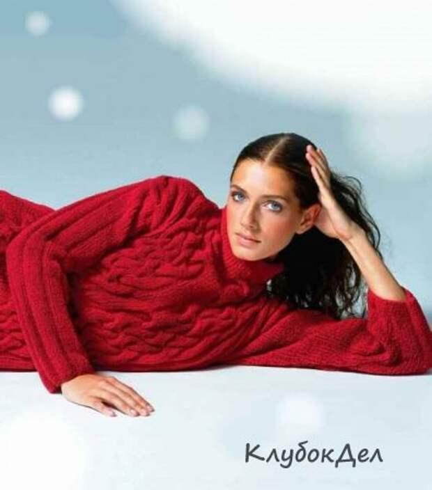 Удлинённый свитер с косами