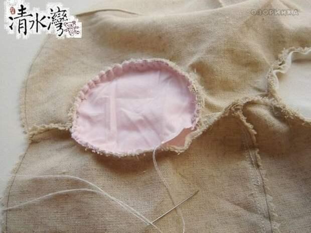 Детали пришиваются вручную, обметочным швом