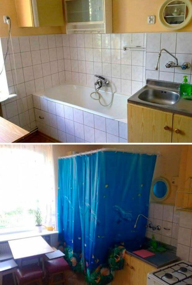 На случай, если не знаете, где разместить ванну. | Фото: Home Hacks.