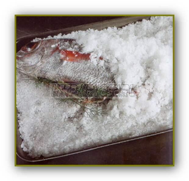 Запеченный морской окунь ( в соли )