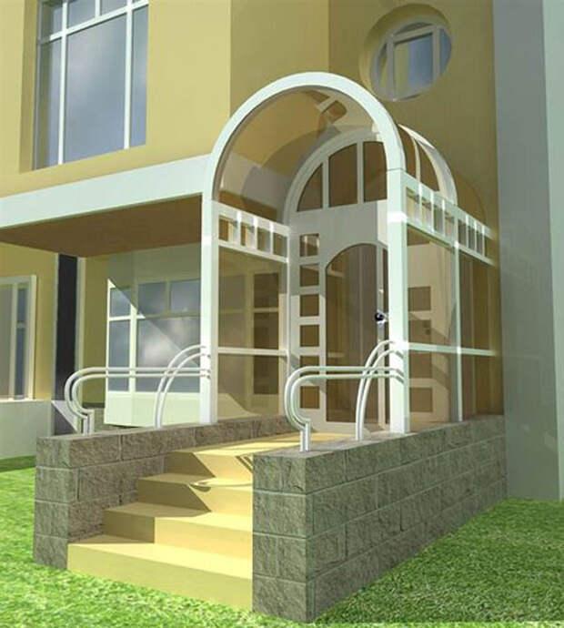 Крыльцо дома в стиле хай-тек