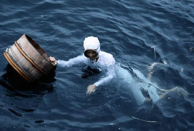Ама-дайвинг Япония Ама-дайвинг является древней японской традицией, которая включает в себя ловлю рыбы и других морских существ без использования какого-либо дыхательного оборудования. Ама плавание опасно. К тому же, традиции требуют, чтобы пловцами были только женщины. Археологические данные показывают, что ама-дайвинг практикуется в Японии, в частности, на полуострове Сима, с доисторических времен. Сейчас практика сходит на нет, поскольку экономический бум просто позволил женщинам найти лучшую работу.