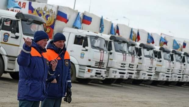 Колонна МЧС с гуманитарной помощью Донбассу достигла границы Донбасса
