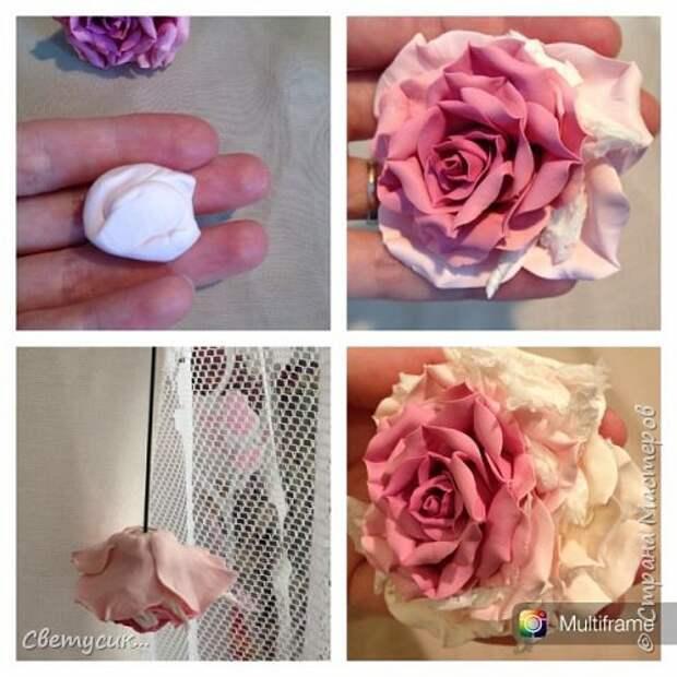 Мастер-класс Флористика искусственная Лепка МК розы из ХФ как и обещала Фарфор холодный фото 24