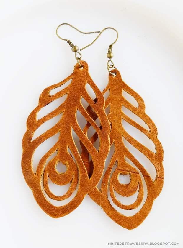 Кожаные перья - серьги  (Diy)