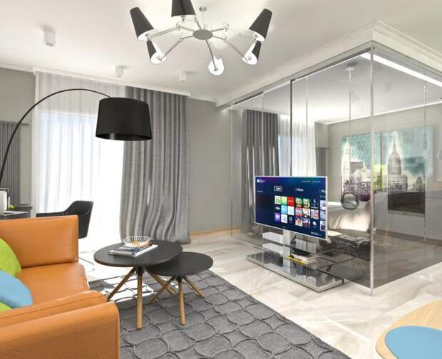Дизайн-интерьера квартиры-студии, современный интерьер