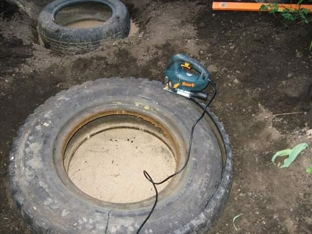 декоративный пруд из шины