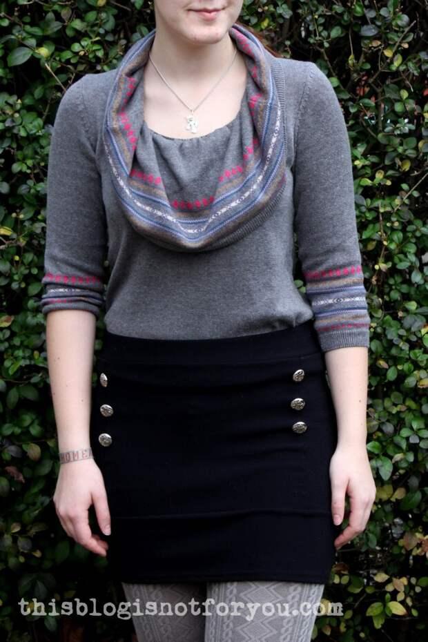 Мастер-класс по переделке платья-свитер с свитер  с воротником-хомут
