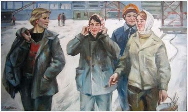 Будни и праздники советских людей в картинах Олега Леонидовича Ломакина.