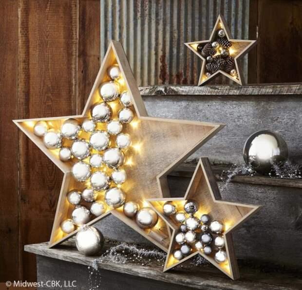 деревянные звезды с шарами внутри