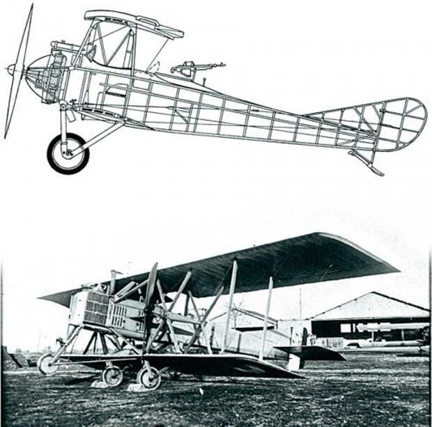 Российский Лебедь-ХII с двигателем Salmson (вверху) Salmson SM1, 1916 год. (внизу)
