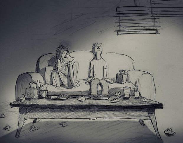 Мужчина иллюстрирует каждый день, прожитый с любимой женой