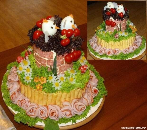 Соленый закусочный торт. Идеи оформления к ПАСХЕ (21) (700x621, 390Kb)