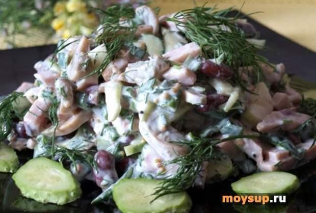 Салат с ветчиной, помидорами и грибами