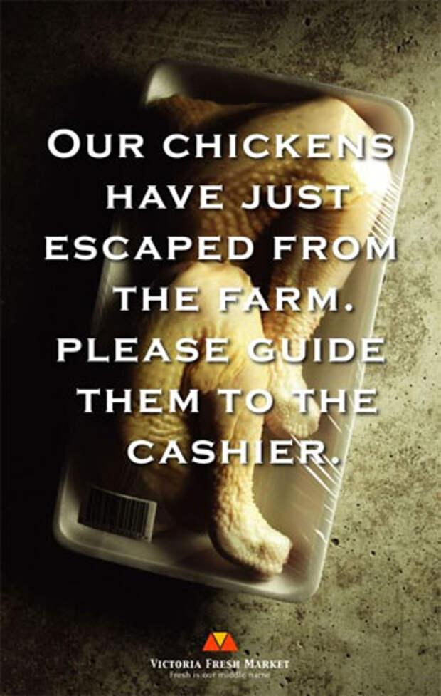 """Надпись на принте: """"Цыпленок удрал с фермы. Просьба вернуть кассиру"""""""