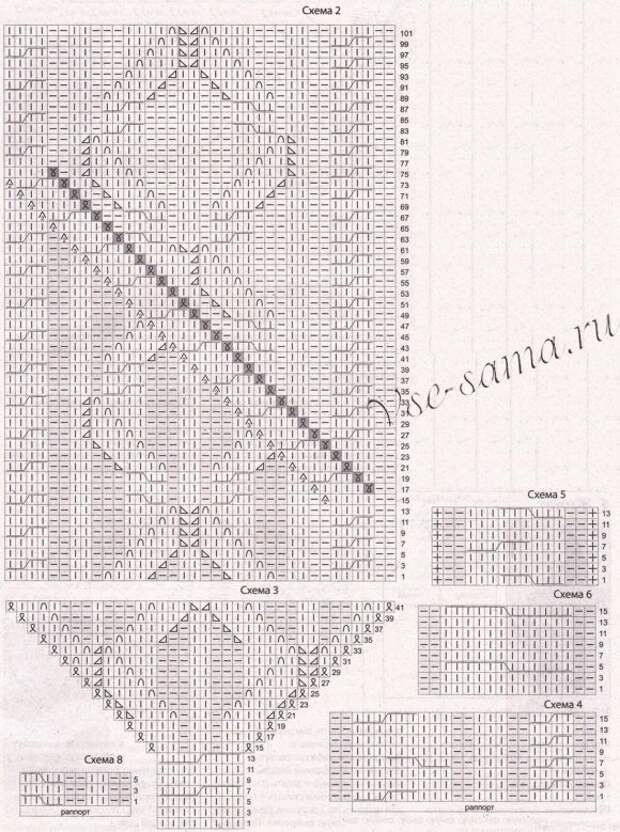 Схема 2-6 для вязания красного платья