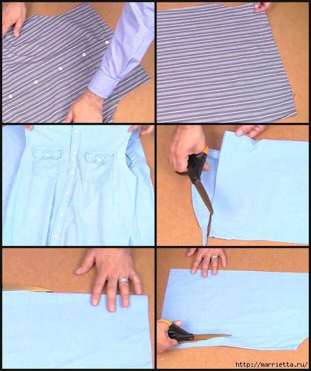 Юбка с карманами из двух мужских рубашек. Видео мастер-класс (1) (519x620, 191Kb)