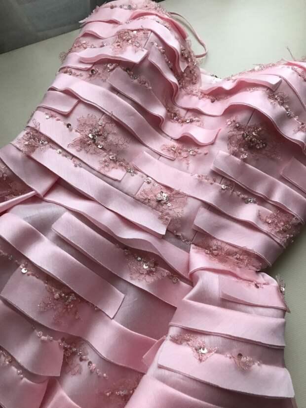 розовое свадебное короткое платье