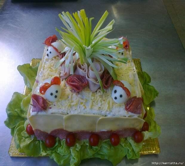 Соленый закусочный торт. Идеи оформления к ПАСХЕ (51) (700x630, 323Kb)
