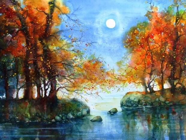 Художник рисует осень