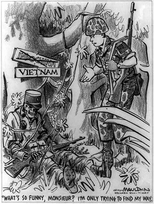 Американский солдат полуистлевшему скелету французского воина: Что смешного, месье? Я просто пытаюсь отыскать свой путь (Bill Mauldin)
