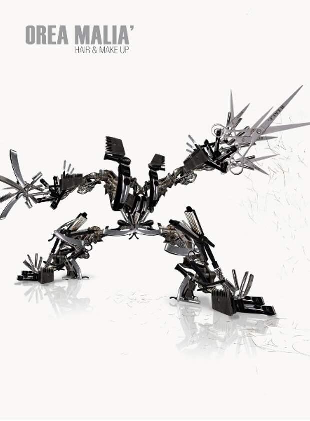 Страшные роботы-трансформеры в рекламе парикмахерской