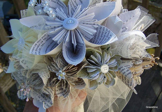 Bridal Bouquet With Origami Book Page or Sheet Music Flowers 15 Included