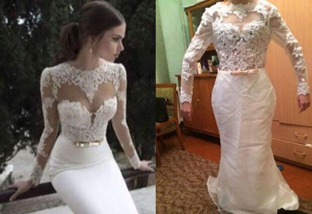 Ожидание и реальность: жуткие свадебные платья с AliExpress