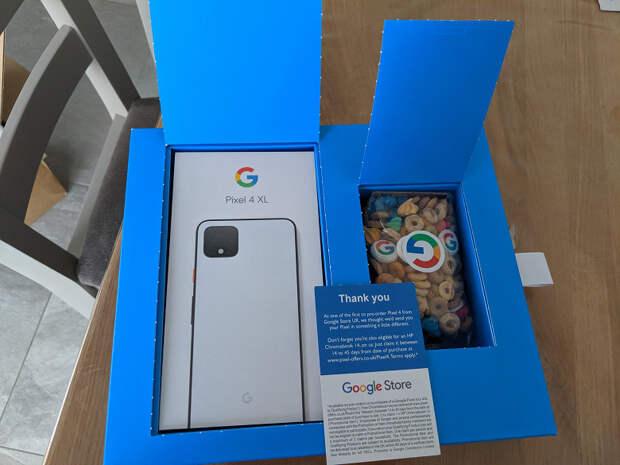 Первые Pixel 4 и 4 XL прибыли в коробках с хлопьями и странными намёками Google