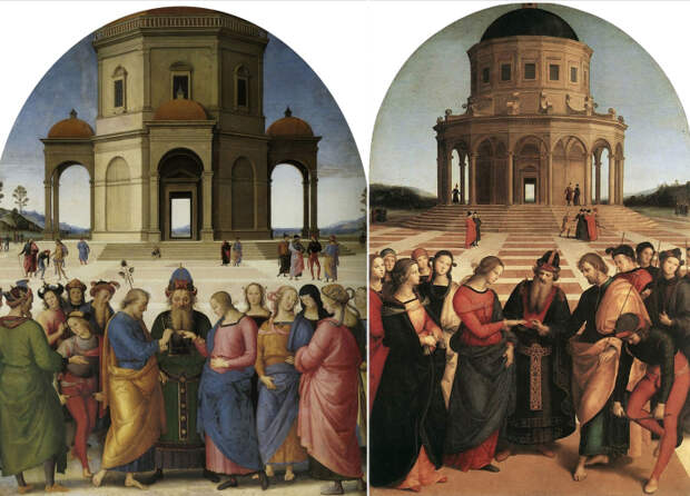 Обручение Девы Марии. Справа: картина Рафаэля. Слева - Пьетро Перуджино. \ Фото: google.com.
