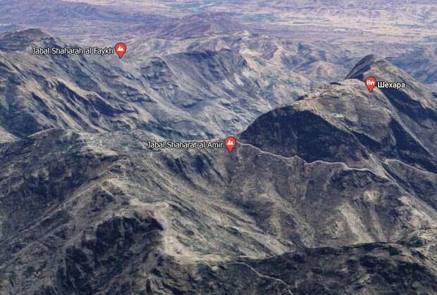 Мост Шехара и две горы на карте (Google Maps)