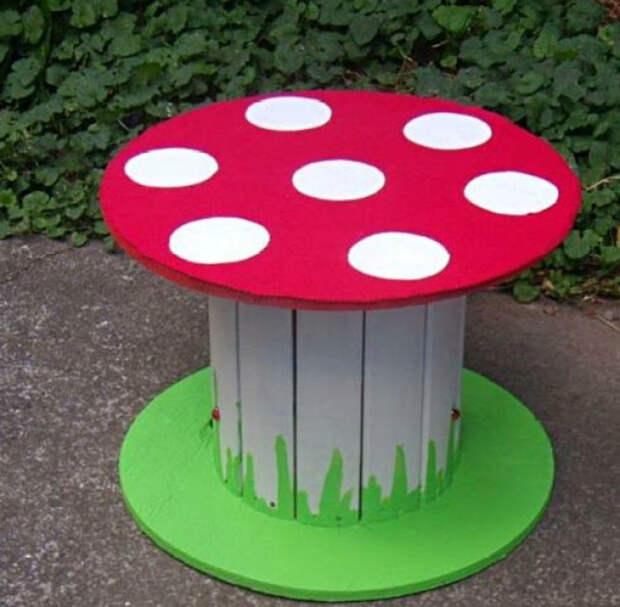 Яркий столик из катушки. | Фото: Top 10 of Anything.
