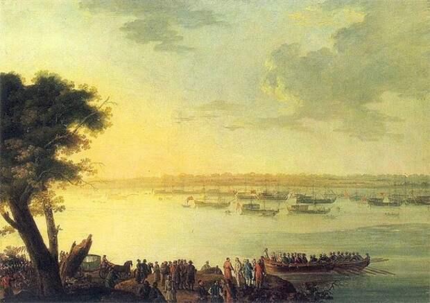 Я. Плерщ. Отправление Екатерины II из Канева в 1787 году мифы, потемкин, россия