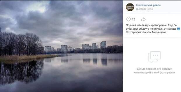 Фото дня: серая безмятежность на Головинских прудах