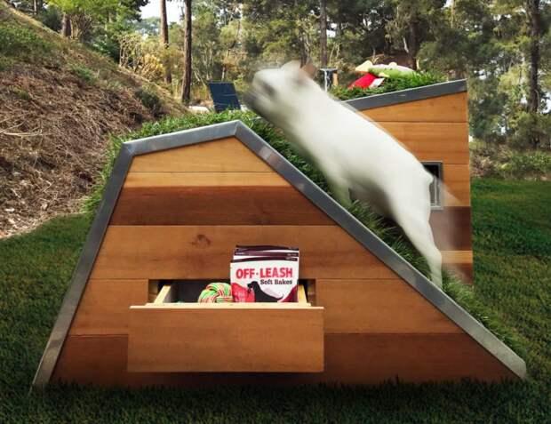 Любимым питомцам посвящается: Собачий домик с зелёной крышей и вентилятором