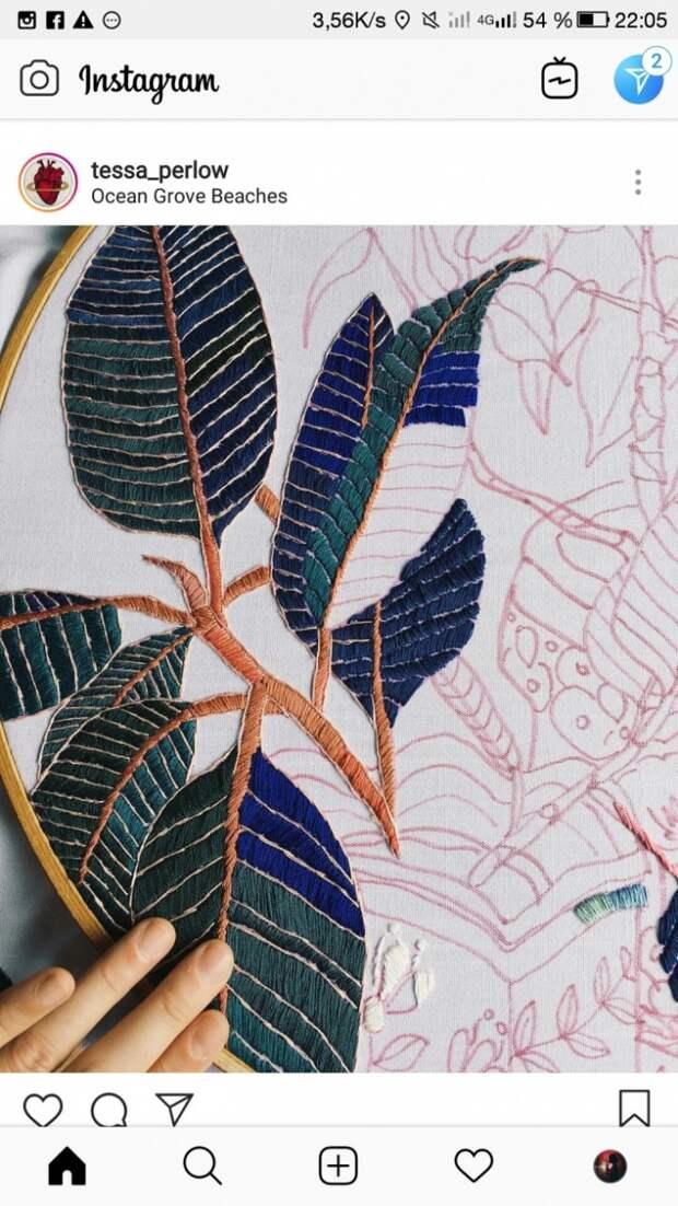 Красивая вышивка листьев (в процессе)