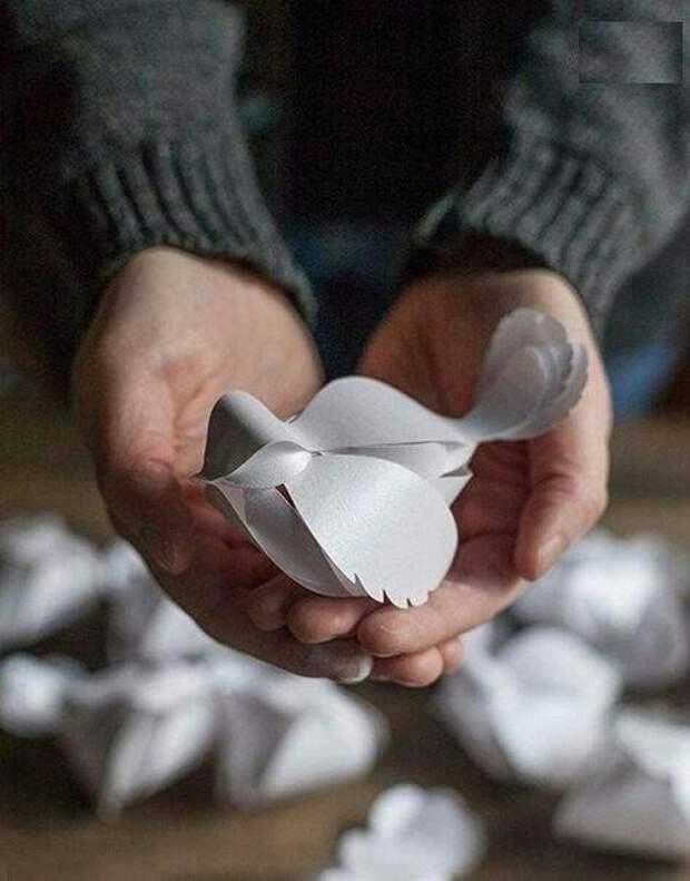 Птички из бумаги (есть шаблон)